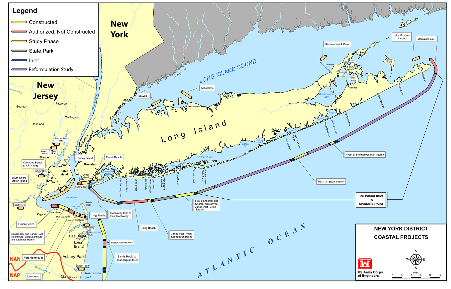 Map of New York District's Coastal Storm Risk Reduction Projects and Studies