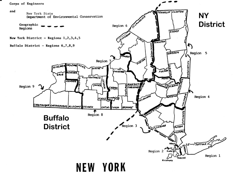 ny map with counties and district jurisdictions wetlands delineation manual us army corps of engineers