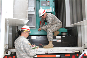 ROCKAWAY, QUEENS, N.Y. – Staff Sgt. Henry Howell and Sgt. Nathaniel Boecker of Headquarters and Headquarters Company, 249TH Eng. Battalion (Prime Power), inspect generators at the Ocean Bay Public Housing complex. The 249th has installed 22 generators powering 24 family building structures in the Rockaways.