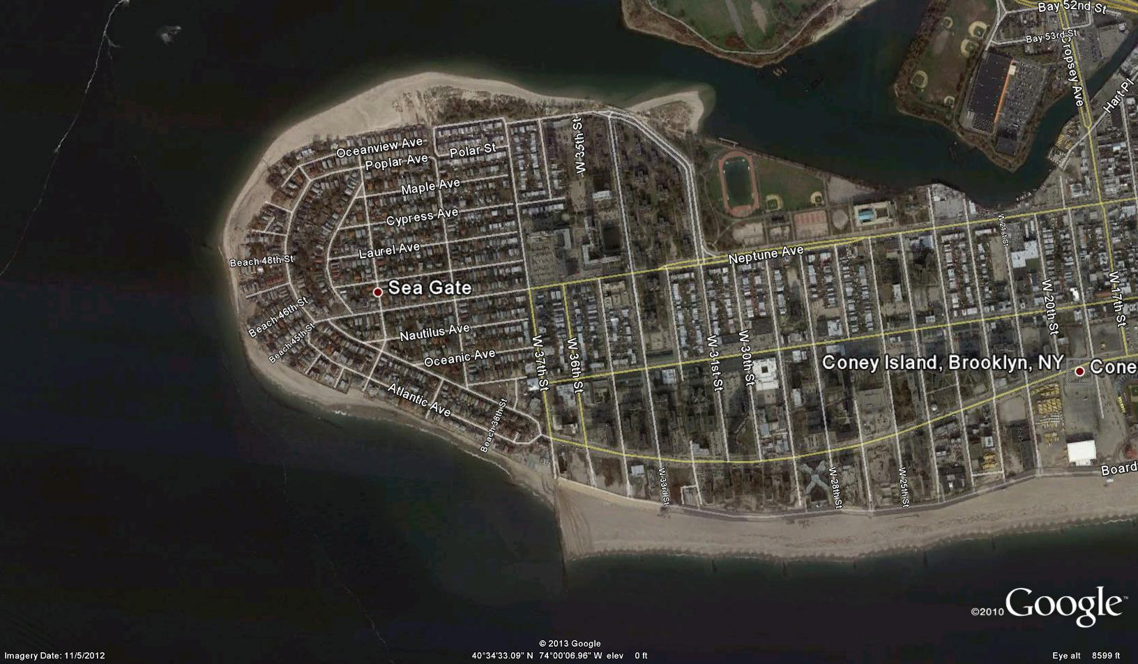 Aerial View of sea Gate after Hurricane Sandy